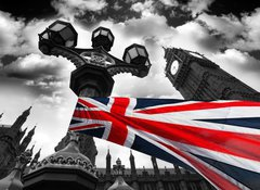 Samolepka fólie 100 x 73, 34366190 - Big Ben with colorful flag of England, London, UK