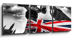 Obraz s hodinami 3D třídílný - 150 x 50 cm F_BM34366190 - Big Ben with colorful flag of England, London, UK