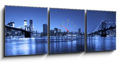 Obraz s hodinami 3D třídílný - 150 x 50 cm F_BM42013041 - View of Manhattan and Brooklyn bridges and skyline at night