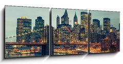 Obraz s hodinami 3D třídílný - 150 x 50 cm F_BM42732396 - New York Manhattan Pont de Brooklyn