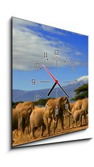 Obraz s hodinami 1D - 50 x 50 cm F_F10215538 - Kilimanjaro And Elephants - 600 dpi