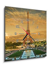 Obraz s hodinami 1D - 50 x 50 cm F_F12665264 - Eifel Tower Paris