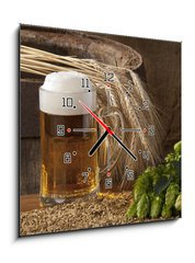 Obraz s hodinami 1D - 50 x 50 cm F_F33797507 - beer with barley and hops - pivo s ječmenem a chmelem