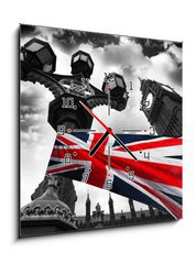 Obraz s hodinami 1D - 50 x 50 cm F_F34366190 - Big Ben with colorful flag of England, London, UK
