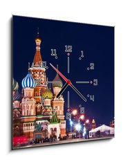 Obraz s hodinami 1D - 50 x 50 cm F_F66293302 - Moscow St. Basil  s Cathedral Night Shot